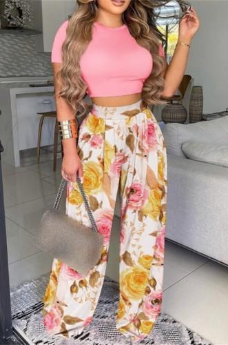 Conjunto de pantalones sueltos de cintura alta y top corto con estampado formal de verano