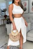 Summer Party White Crop Top and Irregular Long Skirt Sundress Set