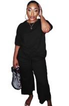Осенняя повседневная черная рубашка и брюки с круглым вырезом, комплект из 2 предметов