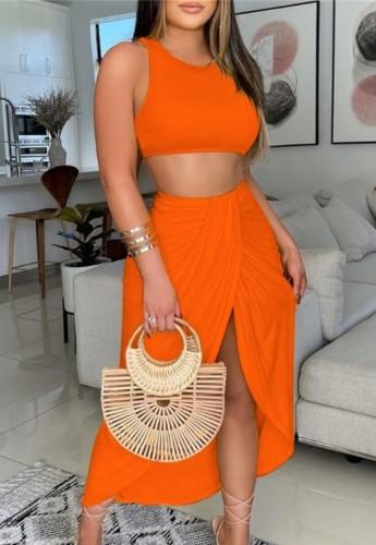 Summer Party Orange Crop Top y Falda larga irregular Conjunto de vestido de tirantes