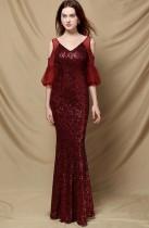 Robe de soirée sirène à col en V et manches en maille à sequins rouges d'automne
