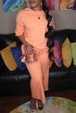 Ensemble 2 pièces chemise et pantalon à col rond rose d'automne