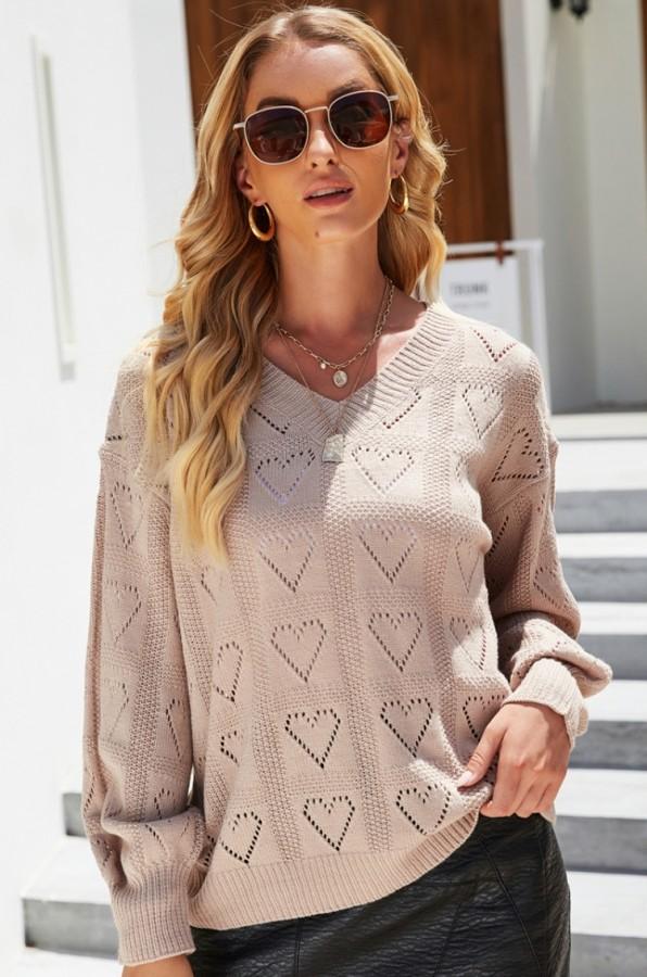 Suéter con cuello en V de corazones de color caqui de otoño Suéter suelto