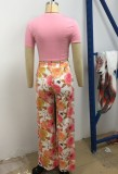 Summer Formal Print Crop Top and High Waist Loose Pants Set