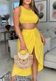 Summer Party Yellow Crop Top and Irregular Long Skirt Sundress Set