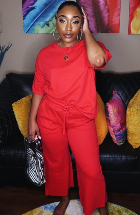 Conjunto de 2 piezas de camisa y pantalones con cuello en O rojo informal de otoño