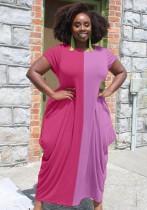 Vestido largo largo suelto informal de bloque de color de verano