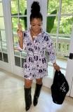 Vestido de blusa de manga larga con estampado casual de otoño