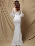 Vestido de noche de sirena con cuello en V y mangas de malla de lentejuelas blancas de otoño