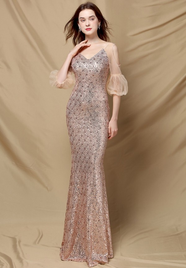 Vestido de noche de sirena con cuello en V y mangas de malla de lentejuelas doradas de otoño