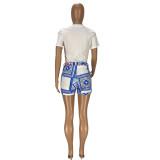 Conjunto de 2 piezas de camisa con estampado informal de verano y pantalones cortos a juego