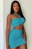 Summer Party Blue Sexy Ruched Halter Crop Top and Mini Skirt Set