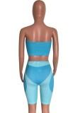 Summer Party Sexy Color Block Top a fascia e pantaloncini da motociclista Set 2 pezzi