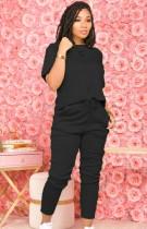 サマーカジュアルブラックシャツとパンツマッチング2PCセット