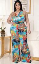 Summer Plus Size Print Formal Halter Jumpsuit