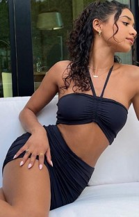 Summer Party Black Sexy Ruched Halter Crop Top and Mini Skirt Set