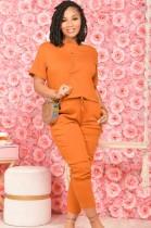 サマーカジュアルオレンジシャツとパンツマッチング2PCセット