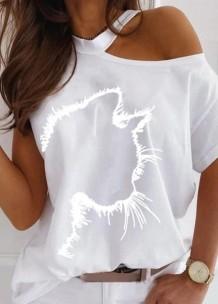 Yaz Baskılı Beyaz Kesim Şık Gömlek