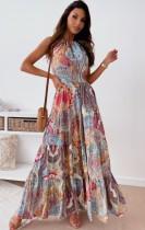 Summer Hawaii estampado halter largo maxi vestido de verano