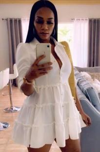 Yaz Günlük Beyaz Ruffles Patenci Elbisesi