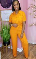 Conjunto de 2 piezas de blusa naranja informal de verano y pantalones a juego