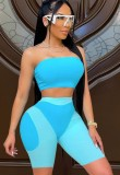 Summer Party Sexy Color Block Bandeau Top and Biker Shorts 2PC Set