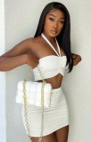 Summer Party White Sexy Ruched Halter Crop Top and Mini Skirt Set