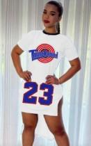 Sommer-Print-weißes Seitenschlitz-High-Low-Sport-Shirt-Kleid