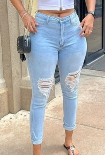 Summer Blue Washed High Waist Ripped Tight Jeans