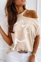 Camisa estilosa com estampa de verão bege recortada