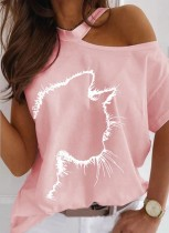 Camisa elegante estampada de verão rosa recortada