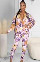 Conjunto de 2 piezas de blusa de manga larga floral clásica de otoño y pantalones a juego
