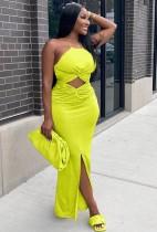 Sommerfest Neongrünes Neckholder-langes Kleid mit Ausschnitten vorne