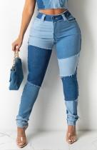 Jeans de cintura alta ajustados con parche de bloque de color regular de verano