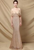 夏のフォーマルゴールデンスパンコール恋人マーメイドイブニングドレス