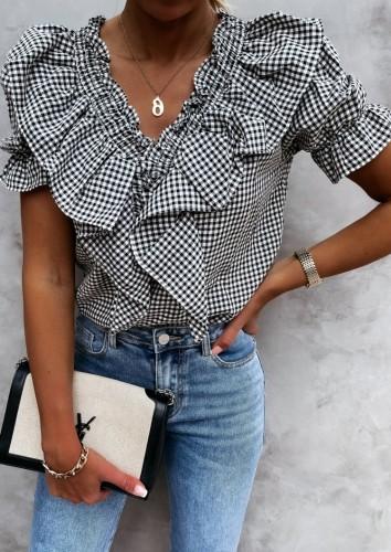 Summer Casual Black Plaid V-Neck Ruffle Shirt