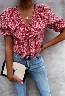 Summer Casual Red Plaid V-Neck Ruffle Shirt