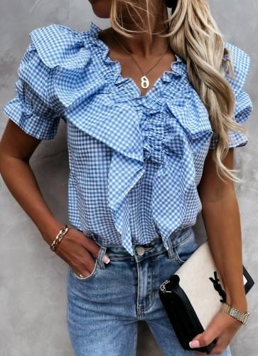Summer Casual Blue Plaid V-Neck Ruffle Shirt