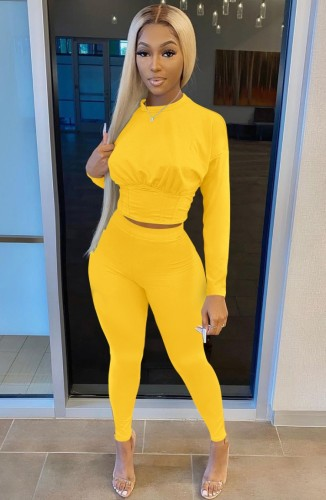 Autumn Casual Yellow Long Sleeve Crop Top and Matching Pants 2PC Set