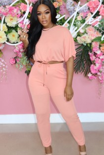 Summer Casual Pink Crop Top and Matching Pants 2PC Set