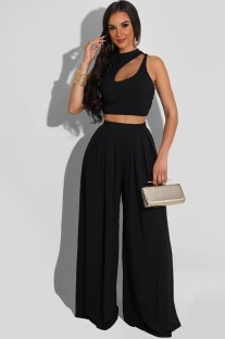 Summer Party Black Cut Out Crop Top and High Waist Wide Trouser Set