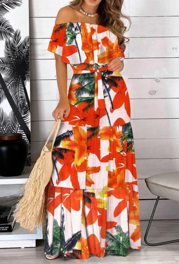 Summer Off Shoulder Floral Long Sundress with Belt