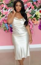 Vestido de festa formal de verão com alças laterais de cetim branco