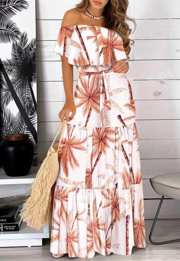 Vestido de verano largo floral con hombros descubiertos y cinturón