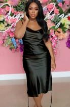 Vestido de festa formal para festa de cetim preto com alças laterais