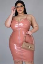 Sommer Plus Size Rosa Leder Reißverschluss Strap Bodycon Kleid