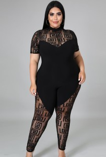 Summer Plus Size Black Patch Sexy Bodycon Jumpsuit
