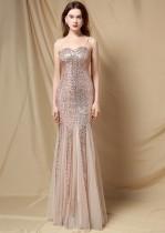 夏のフォーマルゴールデンスパンコールストラップマーメイドイブニングドレス
