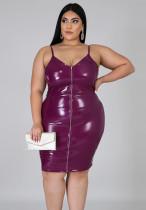 Sommer Plus Size Lila Leder Reißverschluss Strap Bodycon Kleid