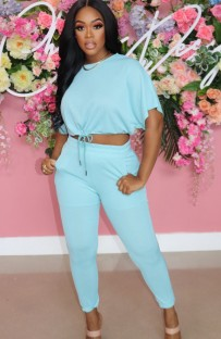 Summer Casual Blue Crop Top and Matching Pants 2PC Set